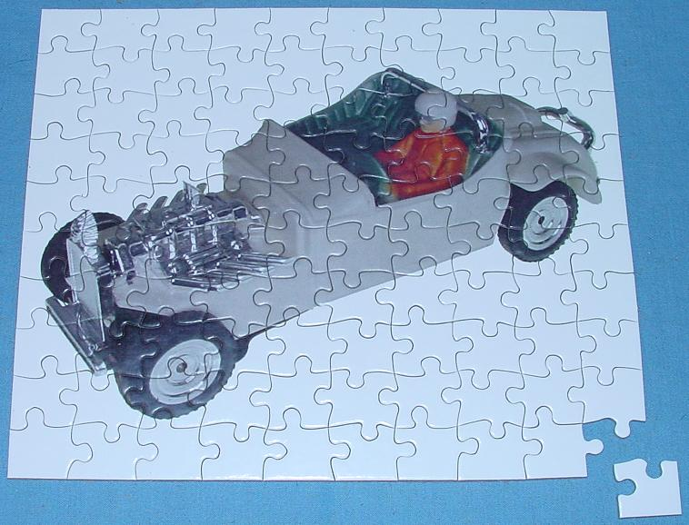 White 1:48 O Gauge Slot Car Jigsaw Puzzle Stock Number 1958G Assembled