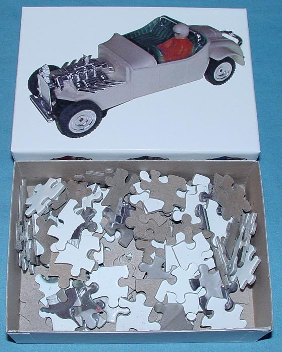 White 1:48 O Gauge Slot Car Jigsaw Puzzle Stock Number 1958G Contents