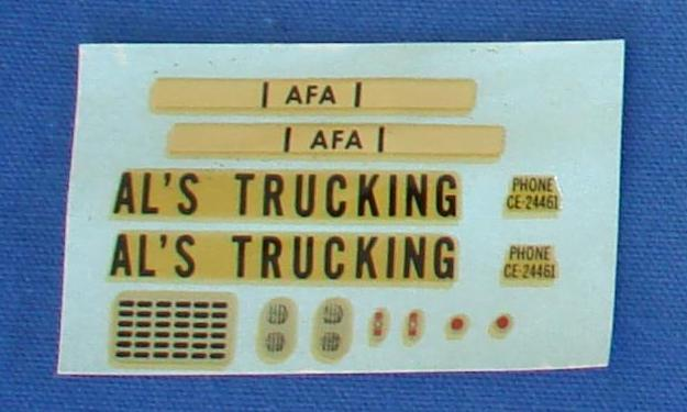 AC Gilbert Als Trucking Slot Car Decal Sheet