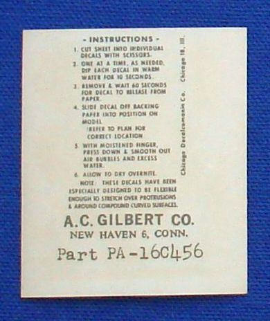 AC Gilbert American Flyer Auto Rama Slot Car Decal Sheet Instructions