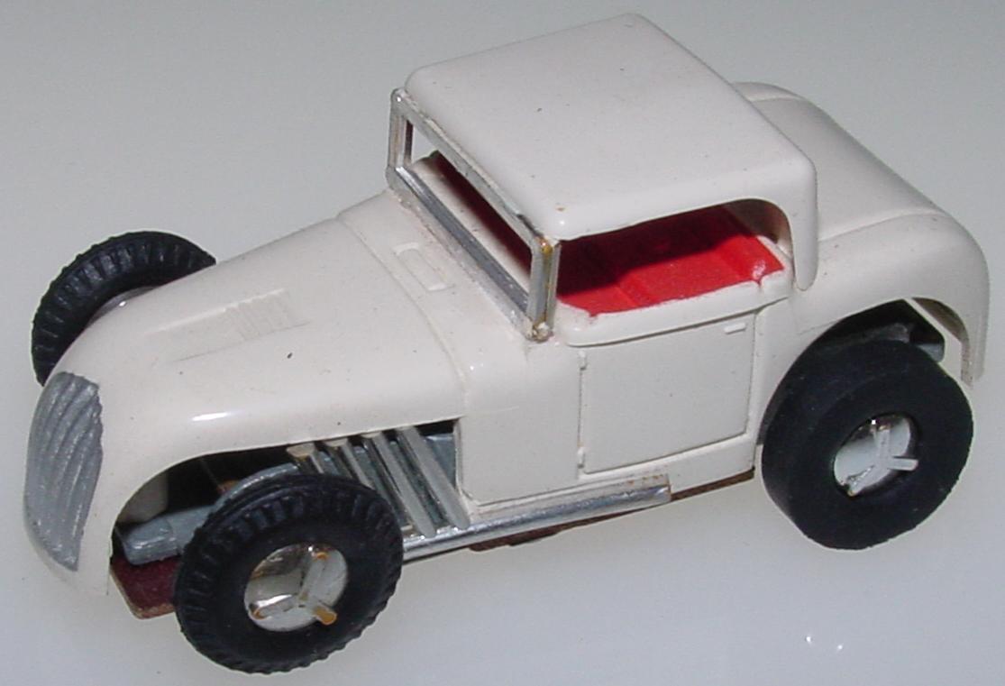 Aurora Vibro White HO Slot Car Hot Rod Hood Roof