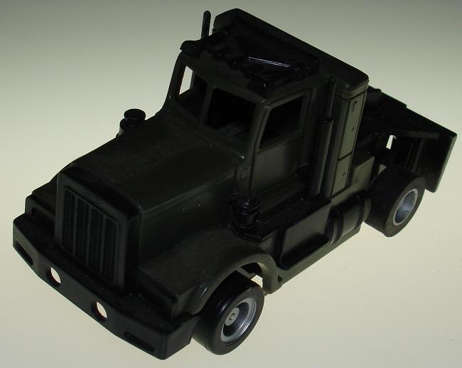 TYCO US1 TRUCKING SLOT CARS GIJOE OLIVE DRAB GREEN ARMY PETERBILT SEMI CAB & CHASSIS
